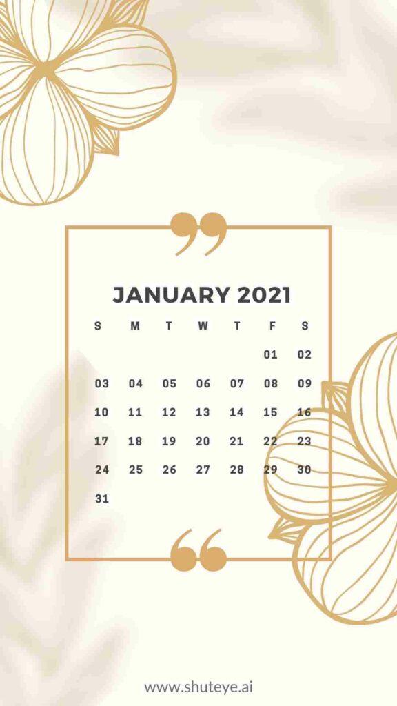 ShutEye Free Printable January Calendar
