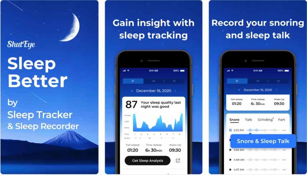 ShutEye best free apps for sleep tracking shuteye
