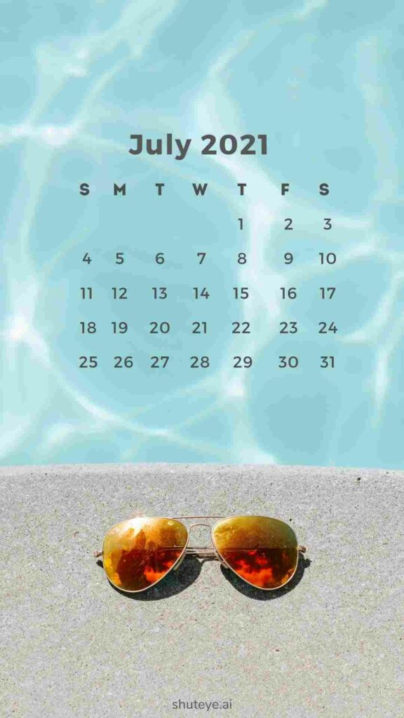 free printable July calendar