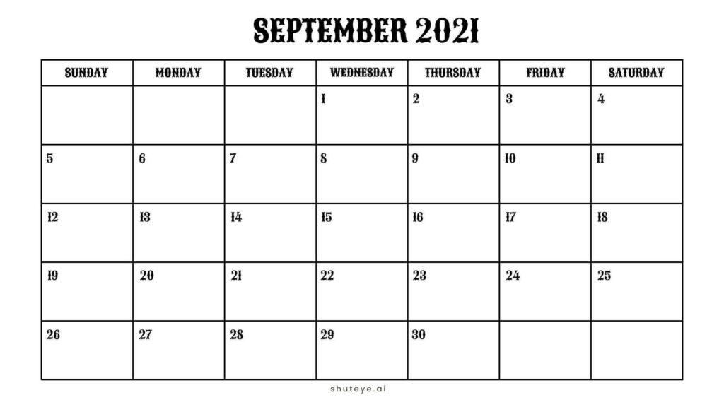 ShutEye Free Printable September Calendar 2021