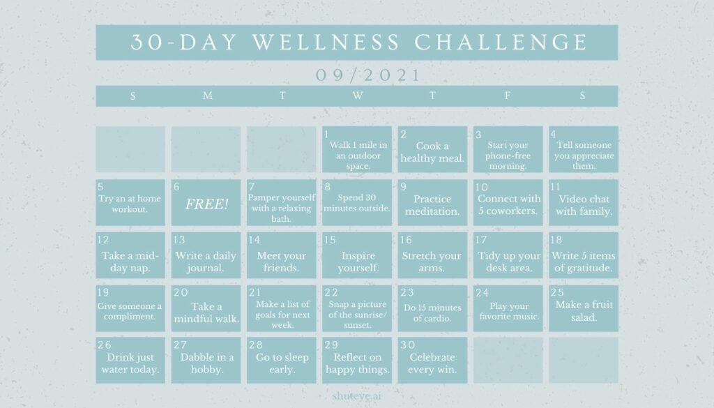 ShutEye 30 Day Wellness Challenge Calendar Ideas