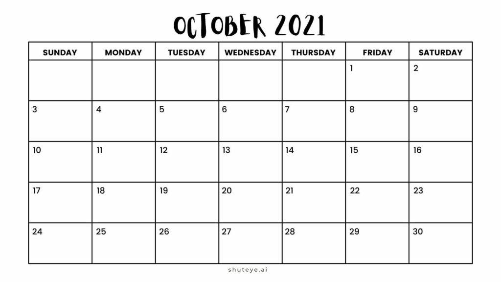 100+ Printable October Calendar Ideas | Free Calendars 2021