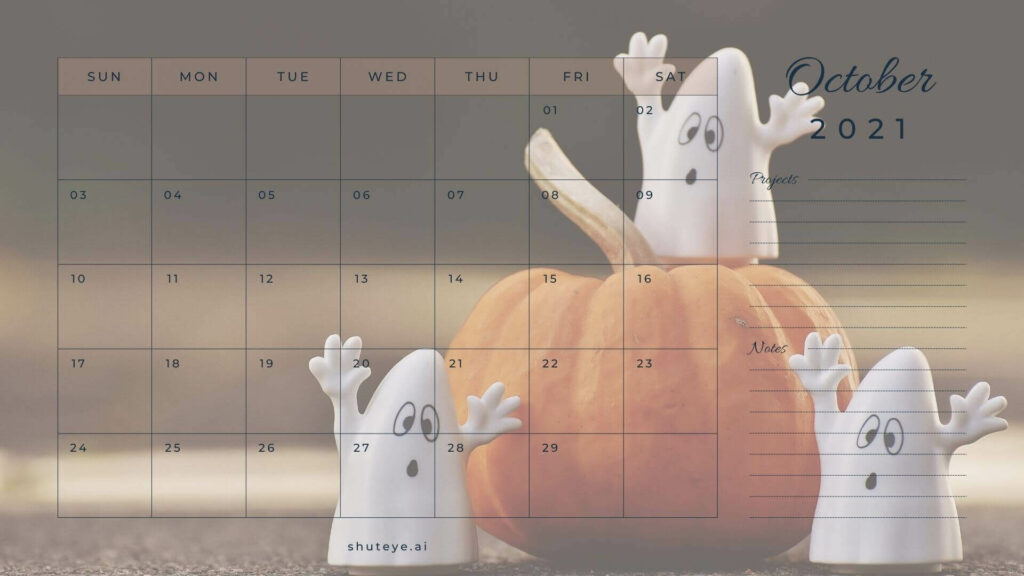 October Calendar Halloween Calendars for 2021