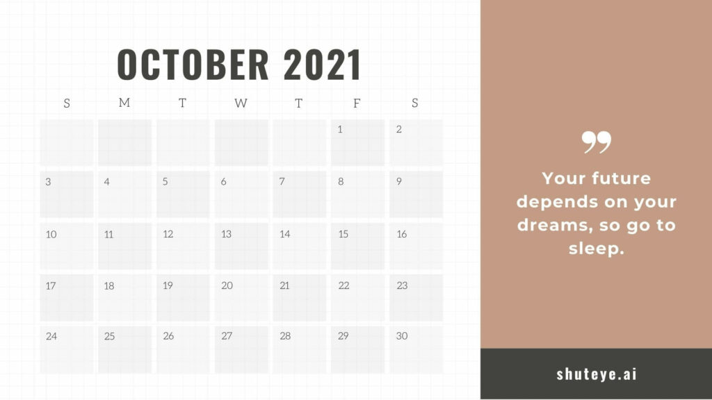 Positive thoughts October Calendars 2021