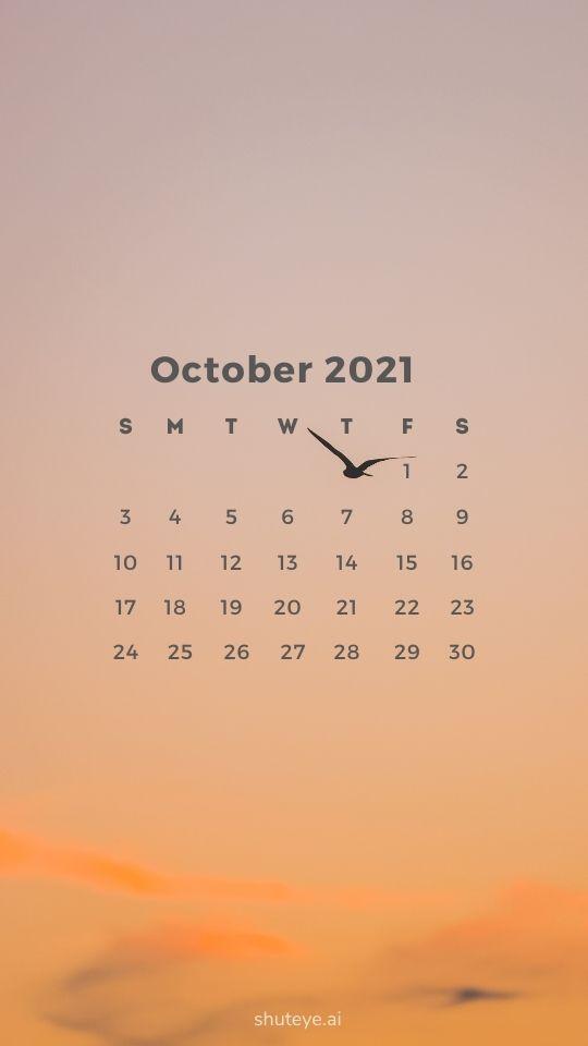 ShutEye October Calendars 2021 phone wallpapers